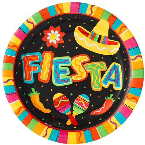Plates Fiesta Fun 26.7cm, Dinner Size Paper - Pack of 8