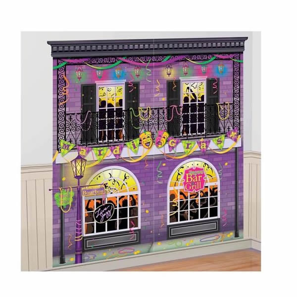 Mardi Gras Scene Setter Wall Decorating Kit 2 Pieces at 82cm x 165cm Plastic (Indoor or Outdoor Use) - Each