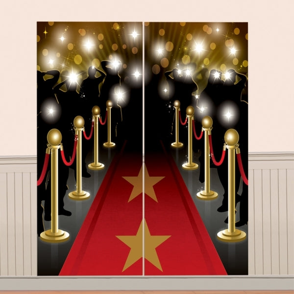 Scene Setter Hollywood Wall Decorating Kit (2 pieces totalling 82cm wide & 165cm High) Indoor or Outdoor Use - Plastic - Each