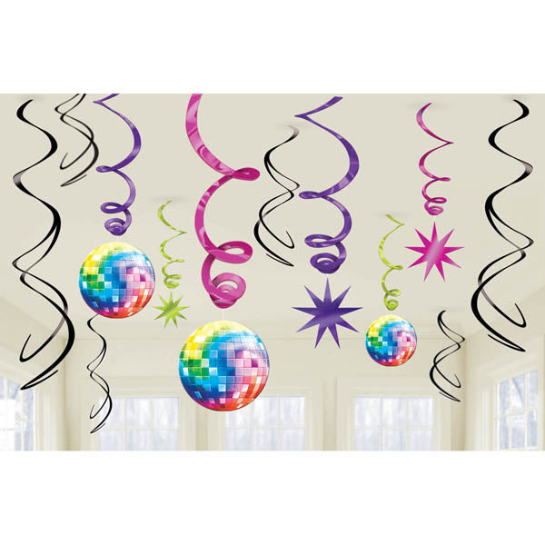 Disco Fever Value Pack Hanging Swirls Includes 6 foil swirls plus 3 x foil swirls with 18cm cutouts and 3 foil swirls with 12cm cutouts. - Pack of 12
