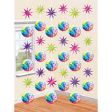 Disco Fever Hanging Strings 7ft (2.1m) Carboard Cutouts & Foil Stars - Pack of 6