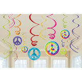 Swirls Hanging Tye Dye Feeling Groovy Value Pack Foil with 12cm & 18cm Cutouts - Pack of 12