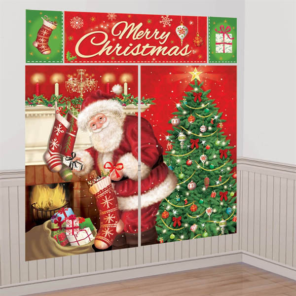 Magical Christmas Scene Setter Wall Decorating Kit (2 x 82cm x 149cm, 1 x 113cm x 40cm, 2 x 26cm x 4cm) Combine to make a Giant Decoration. Suitable for Indoor or Outdoor use. Plastic - Each