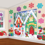 North Pole Scene Setter Decorating Wall Kit Contains 2 Sheets (82.5 x 165cm each) Plastic and 30 Cardboard Cutouts (5 x 22cm, 5 x 20cm, 5 x 16cm & 15 x 11cm) - Each