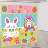 Happy Easter Scene Setter Wall Decorating Kit 2 x 82cm x 149cm, 1 x 44cm x 113cm, 2 x 26cm x 40cm Combine to make a Giant Decoration. Suitable for Indoor or Outdoor use. Plastic - Each
