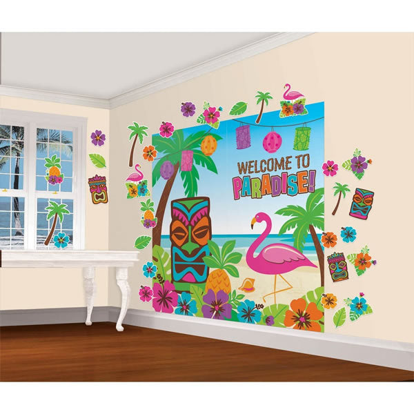 Summer Tiki Scene Setter Wall Decorating Mega  Kit Contains - 2 x Plastic Pieces 82cm x 165cm & 30 Assorted Cutouts LIMITED STOCK FOR 2016 - Each