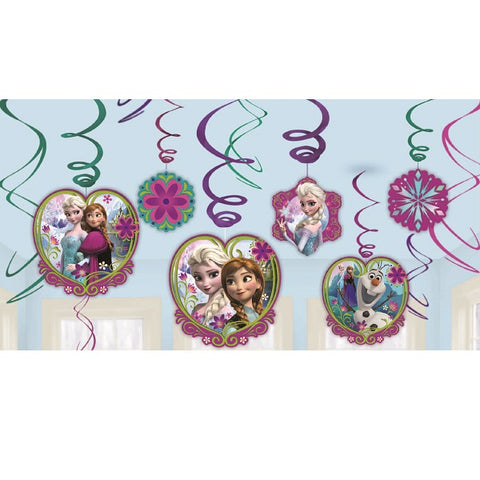 Frozen Hanging Swirl Decorations (Includes 6 foil swirls & 3 x foil swirls with 18cm cutouts and 3 foil swirls with 13cm cutouts) - Pack of 12