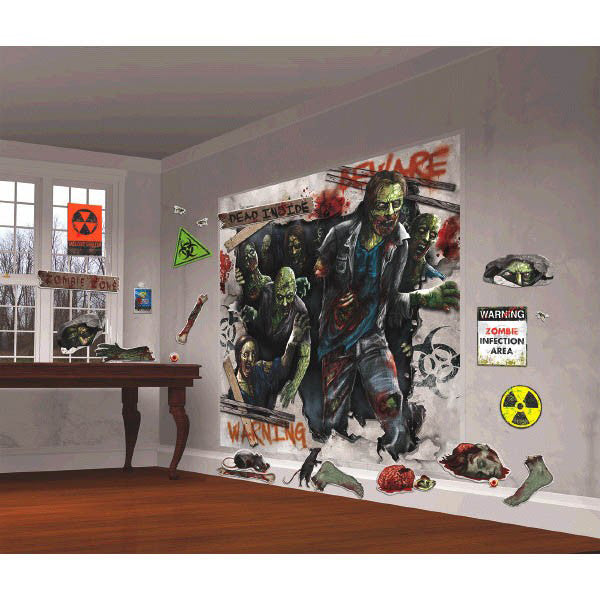 Zombie Wall Scene Setter Decorating Kit Plastic Wall Decoration -2 x 82cm x 165cm & 30 x Assorted Cardboard Cutouts - Each