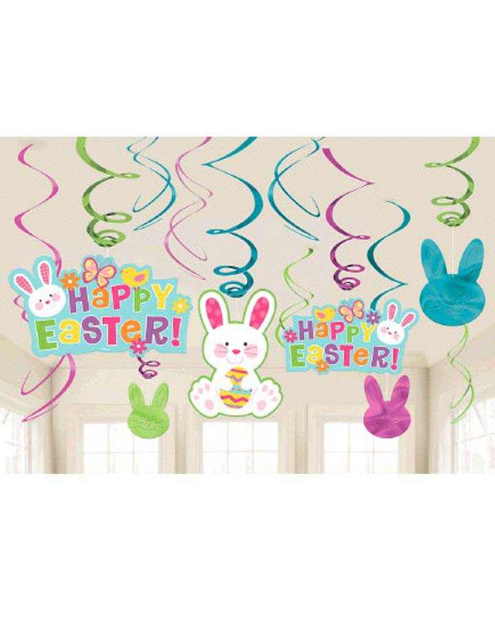Happy Easter Hanging Swirls Value Pack - 6 Plain Foil Swirls, 3 x Foil Swirls with 18cm Cutouts & 3 with 13cm Cutouts - Pack of 12