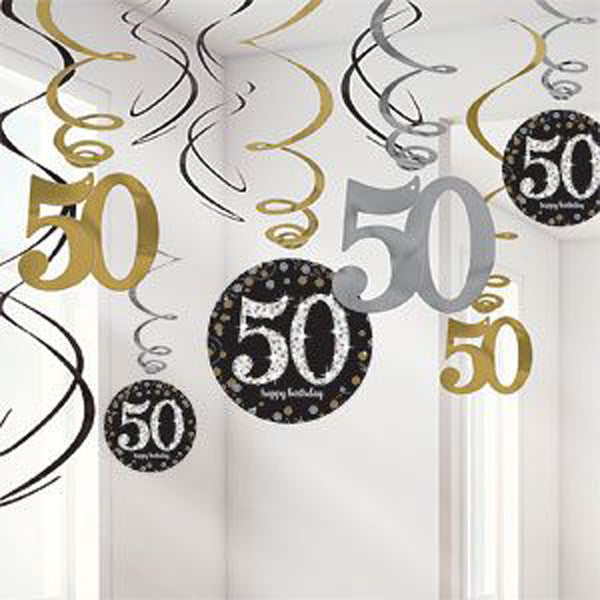 Sparkling Black 50th Birthday Hanging Swirls Cardboard - 6 Plain Foil Swirls, 3 x Foil Swirls with 18cm Cutouts & 3 with 13cm Cutouts - Pack of 12