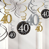 Sparkling Black 40th Birthday Hanging Swirls Cardboard - 6 Plain Foil Swirls, 3 x Foil Swirls with 18cm Cutouts & 3 with 13cm Cutouts - Pack of 12