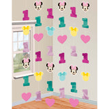 Minnie 1st Birthday String Decorations Fun To Be One Foil & Cardboard Cutouts 2.13m - Pack of 6