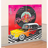 Classic 50's Scene Setter Wall Decorating Kit, Contains 2 x 82.5cm x 165.1cm Sheets, combine to make one giant decoration! - Each