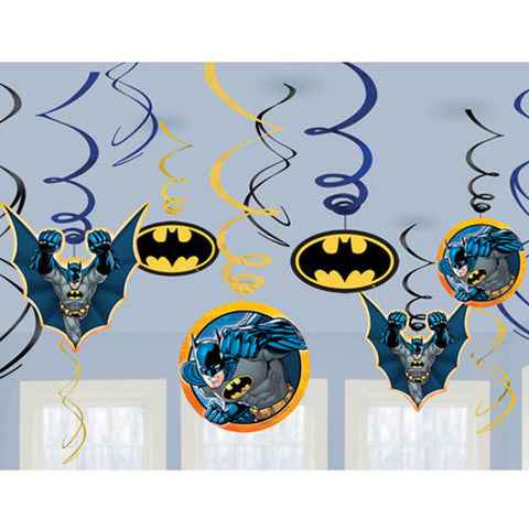 Batman Swirls Value Pack 6 Foil Swirls & 6 Foil Swirls with Cardboard Cutouts 13cm - 18cm - Pack of 12