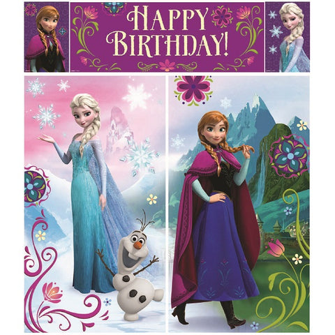 Frozen Scene Setter Wall Decoration (Includes 2 x 82.5cm x 149cm, 1 x 113cm x 40.6cm, 2 x 26cm x 40.6cm) Combine for one giant decoration - Each