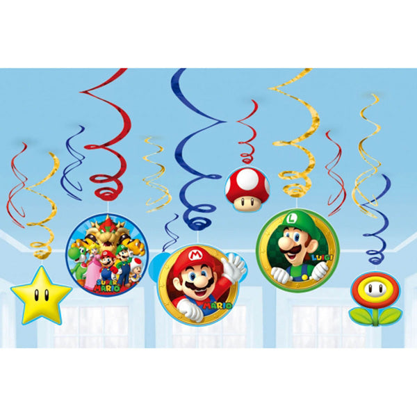 Super Mario Brothers Hanging Swirls Decorations Value Pack Cardboard - 6 Plain Foil Swirls, 3 x Foil Swirls with 18cm Cutouts & 3 with 13cm Cutouts - Pack of 12