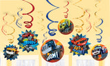 Blaze & The Monster Machines Hanging Swirls Value Pack - 6 Plain Foil Swirls, 3 x Foil Swirls with 18cm Cutouts & 3 with 13cm Cutouts - Pack of 12