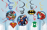 Justice League Hanging Swirls Decorations Value Pack 6 x Foil Swirls, 3 with 18cm Cutouts & 3 with 13cm Cutouts - Pack of 12