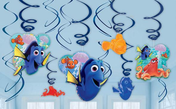 Finding Dory Hanging Swirls Decorations Value Pack (Swirls with Cutouts are 60cm Long, Swirls only are 45cm Long) - Pack of 12