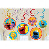 Sesame Street Hanging Swirls Decorations Value Pack Cardboard - 6 Plain Foil Swirls, 3 x Foil Swirls with 18cm Cutouts & 3 with 13cm Cutouts - Pack of 12