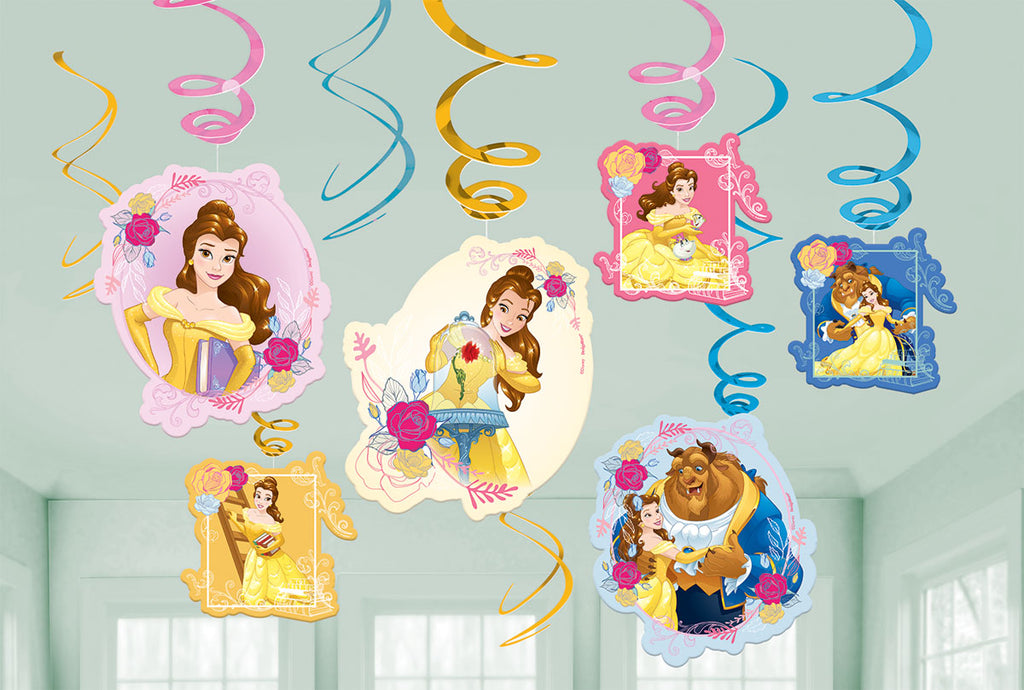 Beauty & The Beast Hanging Swirls Decorations Cardboard - 6 Plain Foil Swirls, 3 x Foil Swirls with 18cm Cutouts & 3 with 13cm Cutouts - Pack of 12