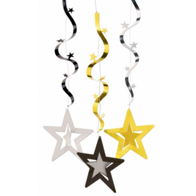Hanging Stars Wavy Decoration Danglers 3D Gold, Silver & Black 91cm - Pack of 3