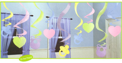 Hanging Decoration Baby Shower Swirls, (60cm) - Pack of 15