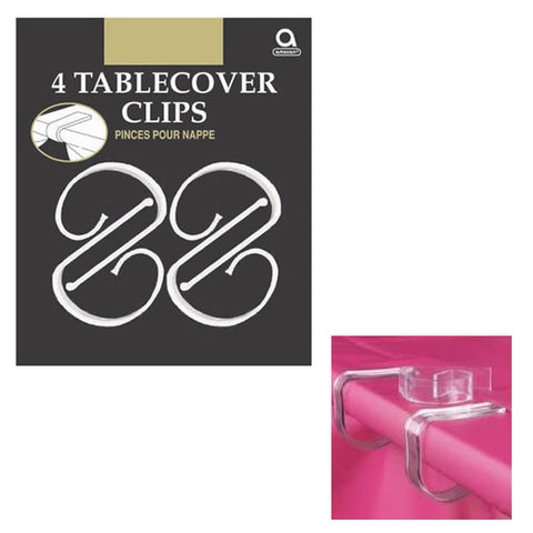 Tablecover Clips Clear Plastic  - Pack of 4