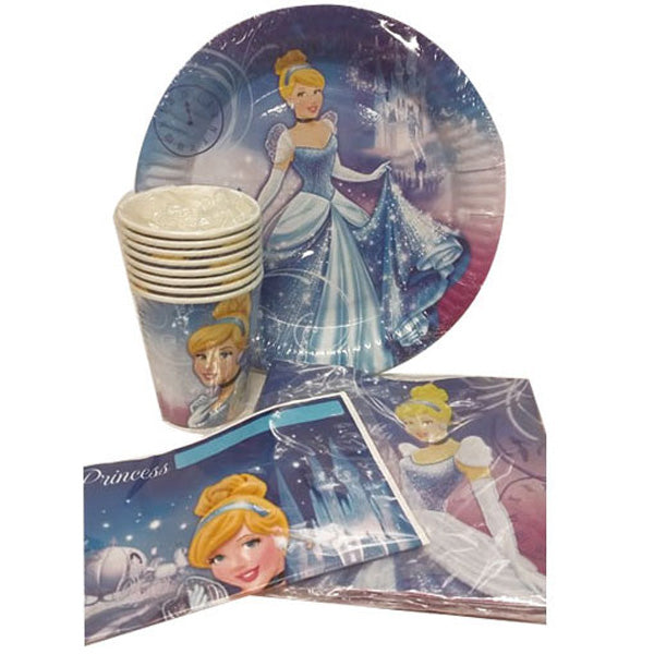 Cinderella Party Pack 40pc Includes 8 cups, 8 plates, 8 loot bags & 16 napkins. - Each