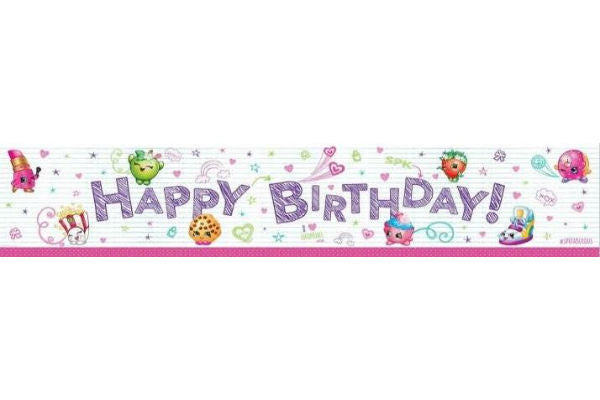 Shopkins Happy Birthday Banner Plastic 150cm x 30cm - Each