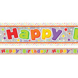 Banner Happy Birthday Kids Design Foil Holographic 2.7m x 13cm Design Repeats 3 Times - Each