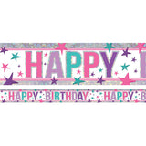 Banner Happy Birthday Pink Design Foil Holographic 2.7m x 13cm Design Repeats 3 Times - Each