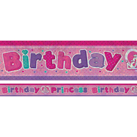 Banner Birthday Princess Foil Holographic 2.7m x 13cm Design Repeats 3 Times - Each