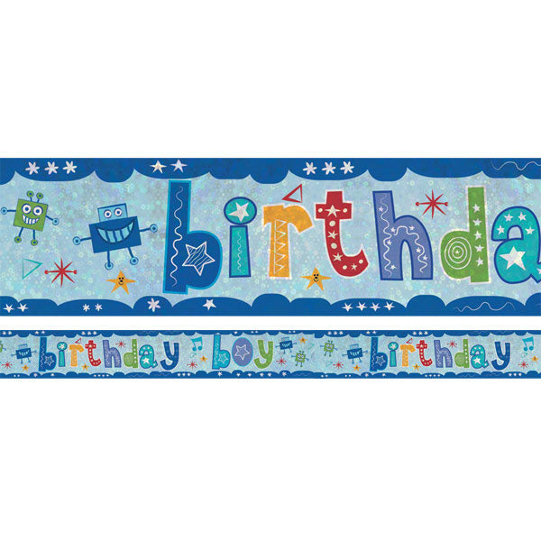 Banner Birthday Boy Foil Holographic 2.7m x 13cm Design Repeats 3 Times - Each