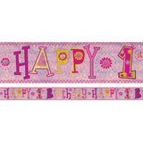 Banner Happy 1st Birthday Girl Design Foil Holographic 2.7m x 13cm Design Repeats 3 Times - Each