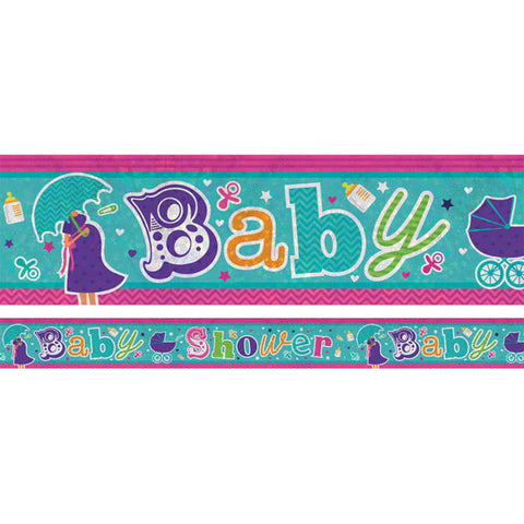Banner Baby Shower Foil Holgraphic 2.7m x 13cm Design Repeats 3 Times - Each