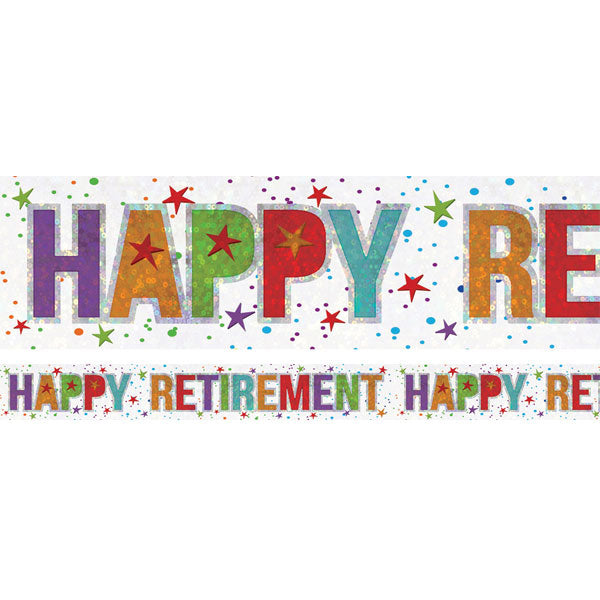 Banner Happy Retirement Foil Holographic 2.7m x 13cm Design Repeats 3 Times - Each