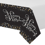 Sparkling Black Happy Birthday Tablecover Plastic 137cm x 259cm - Each