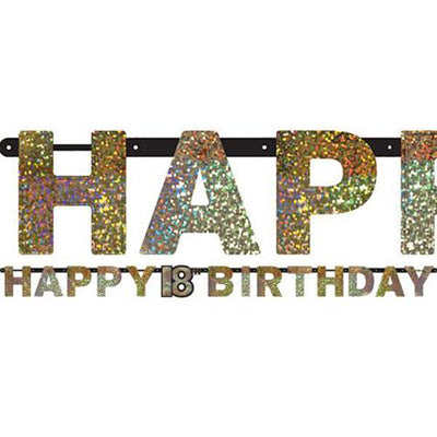 Sparkling Black Happy 18th Birthday Letter Banner  Jointed 2.13m x 16cm Holographic Cardboard Black, Gold & Silver - Each