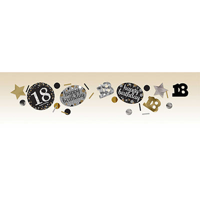 Sparkling Black 18 Happy Birthday Confetti Value Pack Black, Silver & Gold Foil & Cardboard 34g - 34 Grams