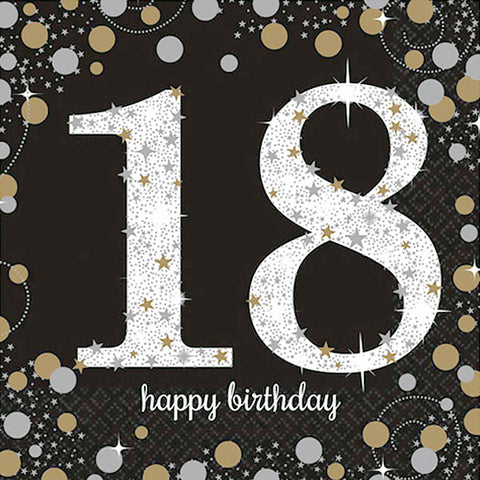 Sparkling Black 18th Birthday Lunch Napkins Black, Gold & Silver 33cm x 33cm 2 Ply - Pack of 16
