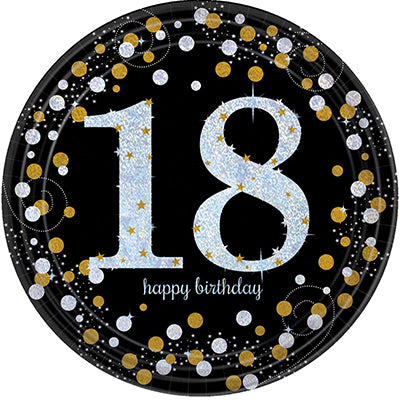 Sparkling Black 18 Happy Birthday Dinner Plates Black, Gold & Silver Prismatic 23cm - Pack of 8