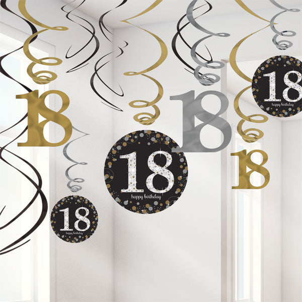 Sparkling Black 18th Birthday Hanging Swirls Cardboard - 6 Plain Foil Swirls, 3 x Foil Swirls with 18cm Cutouts & 3 with 13cm Cutouts - Pack of 12