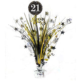 Sparkling Black 21 Happy Birthday Centrepiece 45cm Black, Silver & Gold Foil - Each
