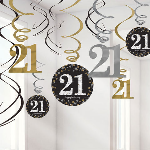 Sparkling Black 21st Birthday Hanging Swirls Cardboard - 6 Plain Foil Swirls, 3 x Foil Swirls with 18cm Cutouts & 3 with 13cm Cutouts - Pack of 12