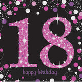 Sparkling Pink 18th Birthday Lunch Napkins Pink, Black & Silver 33cm x 33cm 2 Ply - Pack of 16