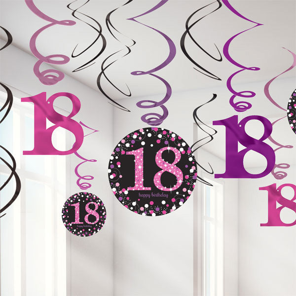 Sparkling Pink 18th Birthday Hanging Swirls Cardboard - 6 Plain Foil Swirls, 3 x Foil Swirls with 18cm Cutouts & 3 with 13cm Cutouts - Pack of 12