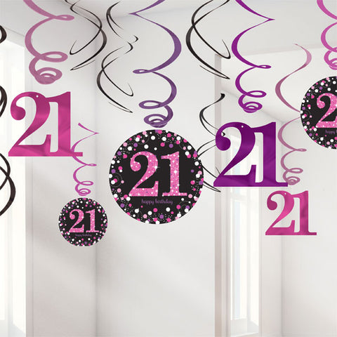 Sparkling Pink 21st Birthday Hanging Swirls Cardboard - 6 Plain Foil Swirls, 3 x Foil Swirls with 18cm Cutouts & 3 with 13cm Cutouts - Pack of 12