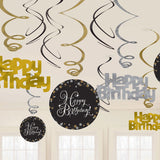 Sparkling Black Happy Birthday Hanging Swirls Cardboard - 6 Plain Foil Swirls, 3 x Foil Swirls with 18cm Cutouts & 3 with 13cm Cutouts - Pack of 12