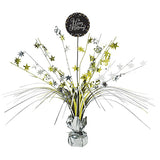 Sparkling Black Happy Birthday Centrepiece 45cm Black, Silver & Gold Foil - Each